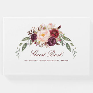 Burgundy Floral Wedding Guest Book