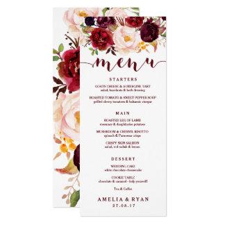Burgundy Floral Wedding Menu Card