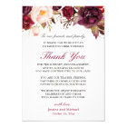 Burgundy Floral Wedding Place Setting Thank You Card