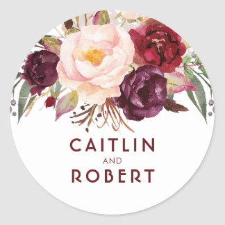 Burgundy Florals Elegant Wedding Classic Round Sticker