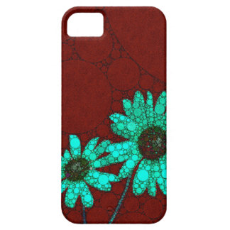 Burgundy Florescent Turquoise Flowers Case For The iPhone 5