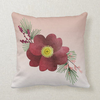 Burgundy Flower and Pine Boughs Holiday Cushion