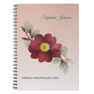 Burgundy Flower and Pine Boughs Holiday Lists Spiral Notebook