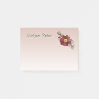 Burgundy Flower and Pine Boughs Holiday Post-it Notes