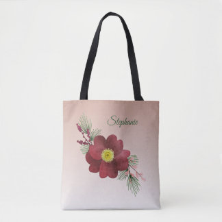 Burgundy Flower and Pine Boughs Holiday Tote Bag