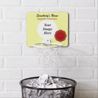 Burgundy Flower Ribbon by Kenneth Yoncich Mini Basketball Hoop