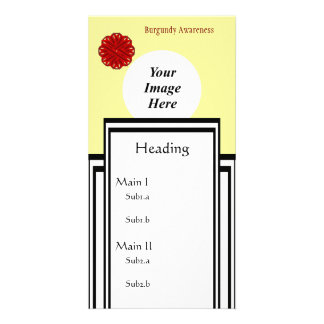 Burgundy Flower Ribbon Template Personalized Photo Card