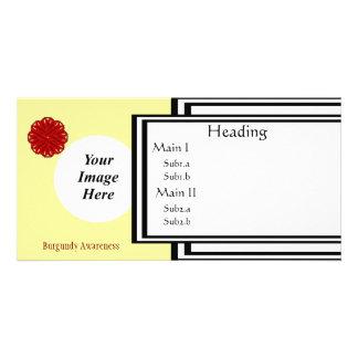 Burgundy Flower Ribbon Template Photo Card Template