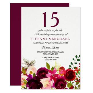 Burgundy Flowers 15th Wedding Anniversary Invite