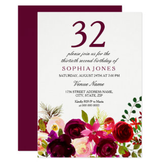 Burgundy Flowers 32nd Birthday Party Invitation