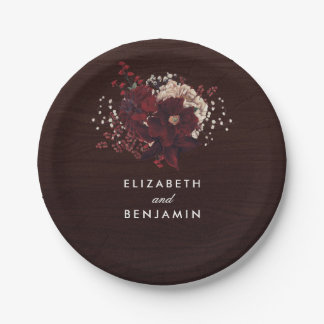 Burgundy Flowers Bouquet Rustic Bouquet Fall 7 Inch Paper Plate