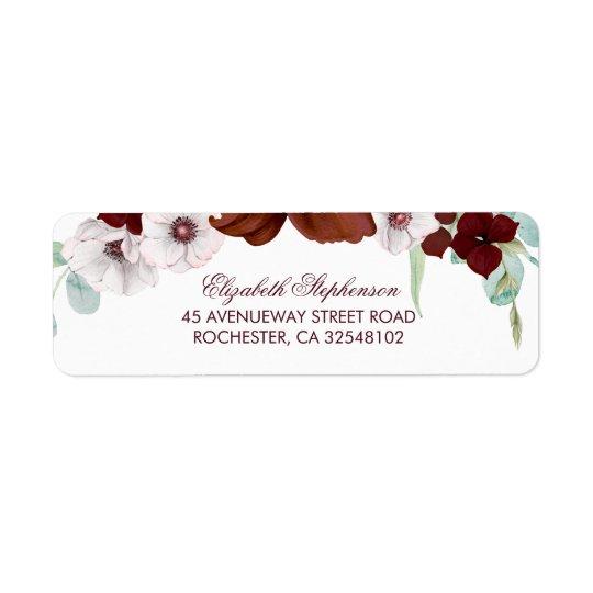 Burgundy Flowers Elegant Wedding Return Address Label