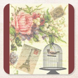 Burgundy French Theme Vintage Paris Coasters