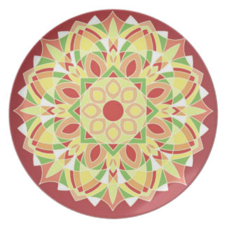 Burgundy Geometric Star Design Dinner Plate