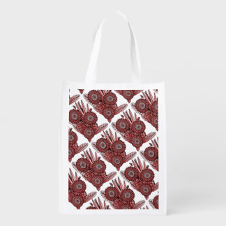 Burgundy Gerbera Daisy Flower Bouquet Reusable Grocery Bag