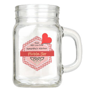 Burgundy Gingham Honeycomb Shaped Badge Mason Jar