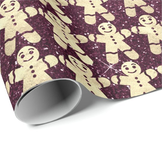 Burgundy Glitter Gold Christmas Ginger Bread Guy Wrapping Paper
