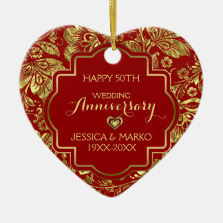 Burgundy & Gold 50th Wedding Anniversary Ceramic Ornament