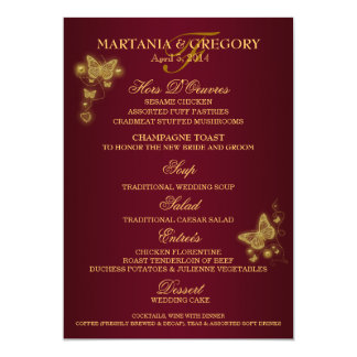 Burgundy gold butterfly wedding menu 13 cm x 18 cm invitation card