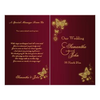 Burgundy gold butterfly wedding program 21.5 cm x 28 cm flyer