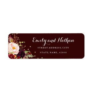 Burgundy Gold Confetti Floral Return Address Label
