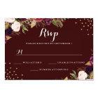 Burgundy Gold Confetti Floral Wedding RSVP Card
