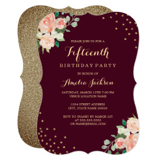 Burgundy Gold Floral Confetti 15th Birthday Party Card