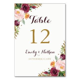 Burgundy Gold Floral Glitter Table Number Cards