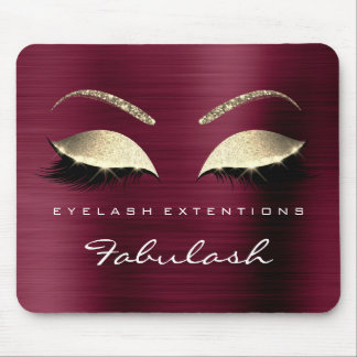 Burgundy Gold Glitter Branding Beauty Lashes Glam Mouse Pad