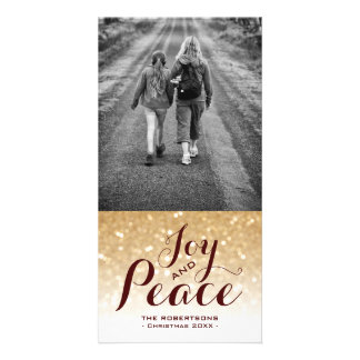 Burgundy & Gold Glitter | Christmas Card Joy Peace