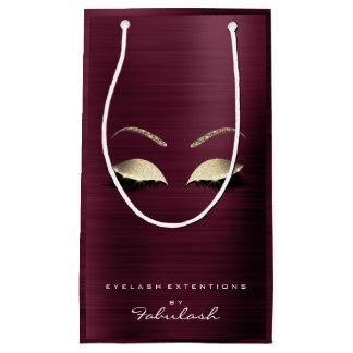 Burgundy Gold Glitter Makeup Lashes Beauty Brandin Small Gift Bag