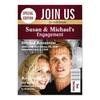 Burgundy Gold magazine engagement 13 Cm X 18 Cm Invitation Card