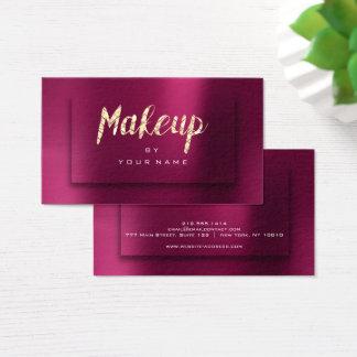Burgundy Gold Metallic Typograph Makeup Artist 3D Business Card