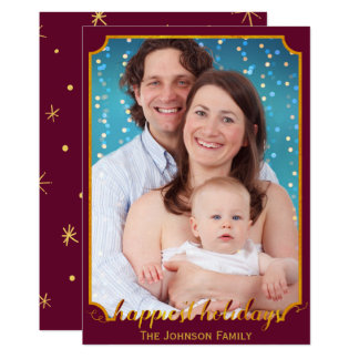 Burgundy Gold Photo Card