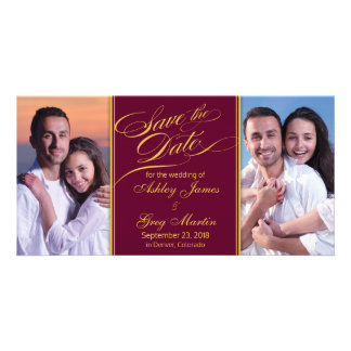 Burgundy Gold Photo Collage Wedding Save the Date Card