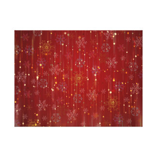 Burgundy Gold Sparkling Snow Flakes Canvas Prints