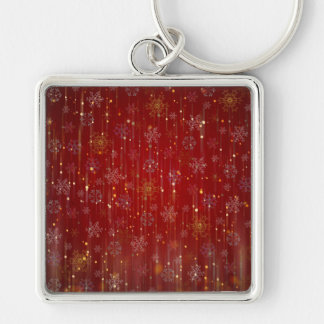 Burgundy Gold Sparkling Snow Flakes Key Chain