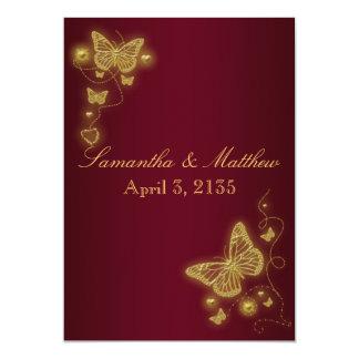 Burgundy gold wedding butterfly theme 13 cm x 18 cm invitation card