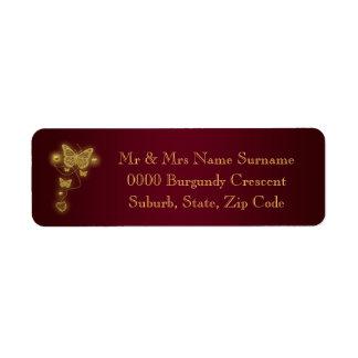 Burgundy gold wedding return address return address label