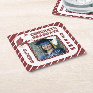 Burgundy Graduation Graduate School Party Coasters