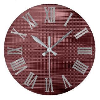 Burgundy Gray Silve Minimal Metallic Roman Numers Large Clock