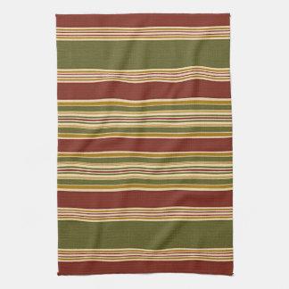 Burgundy Green Ivory Ochre Yellow Stripes Pattern Tea Towel