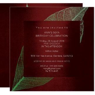 Burgundy Green Leaf Gold Birthday Party 13 Cm X 13 Cm Square Invitation Card