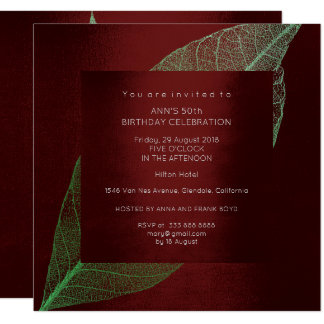 Burgundy Green Leaf Gold Birthday Party Card