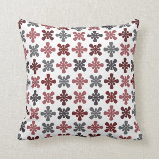 Burgundy Grey Maroon Abstract Flower Pattern Cushion