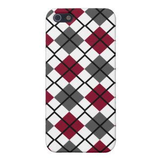 Burgundy, Grey, White, Black Argyle iPhone 4 Case