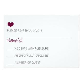 Burgundy Heart RSVP Card