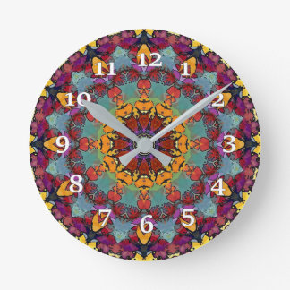 Burgundy Kaleidoscope Round Clock