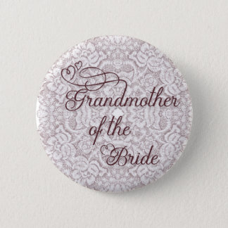 Burgundy Lace Hearts Grandmother of the Bride 6 Cm Round Badge