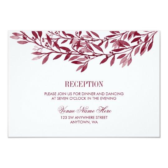 Burgundy Laurel Wreath Wedding Reception Card